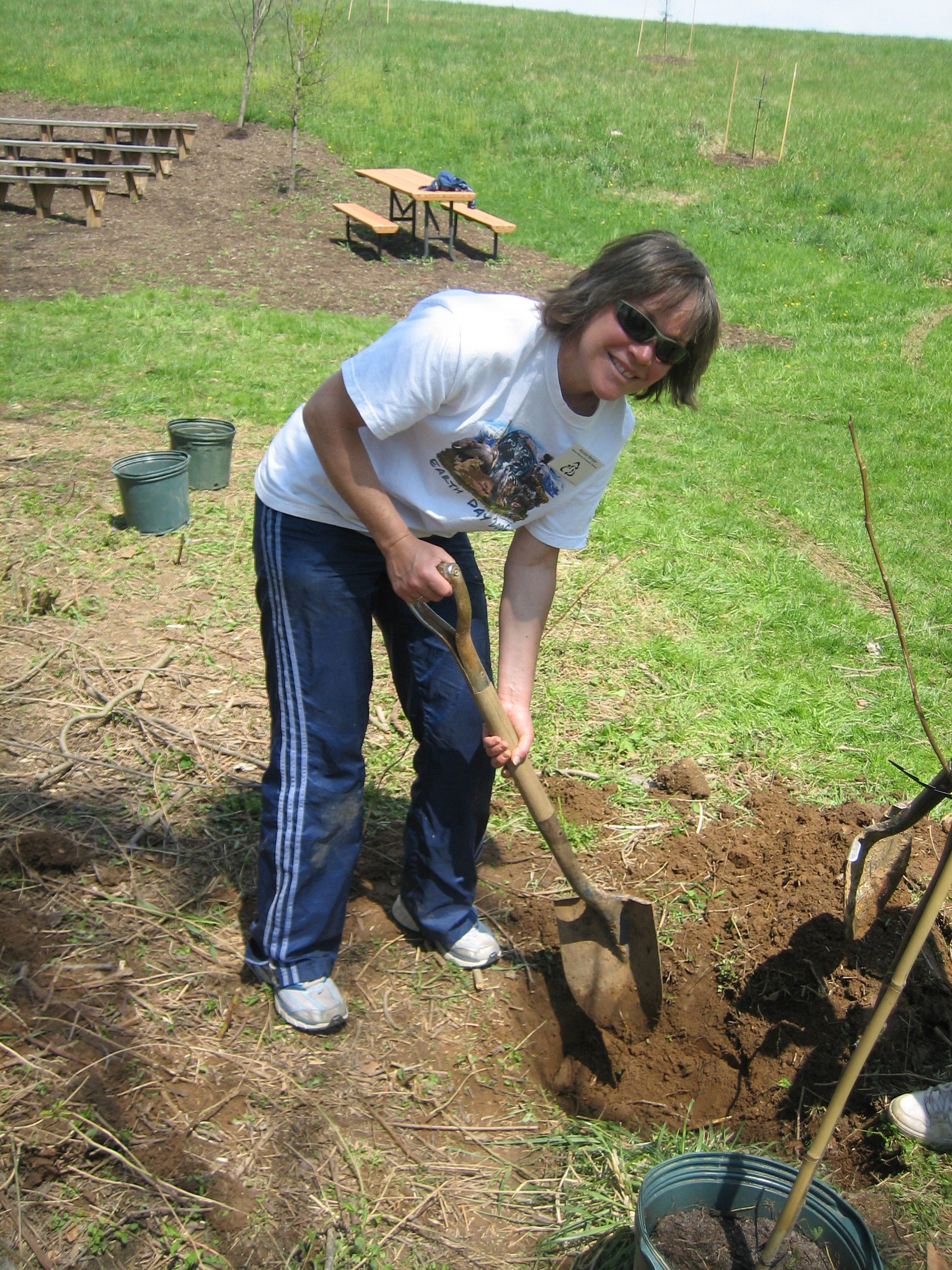 Kirsten Burger, SGCPC Pres. gives a hand digging